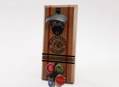Chicago Blackhawks Circle with Stripes Logo Bottle Opener with Caps