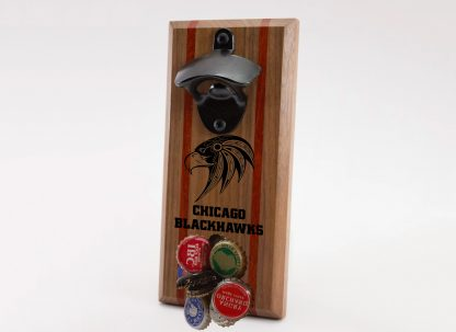 Chicago Blackhawks Hawk with Name Below Logo Bottle Opener with Caps