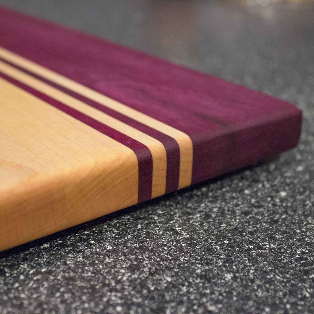 Purpleheart and Maple Stripped Cutting Board Edge